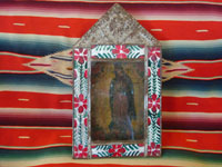 Mexican vintage devotional art and Mexican vintage tin-work art, a wonderful nicho with a retablo of Our Lady of Guadalupe; retablo on tin c. 1920. The lovely tin-work nicho is c. 1930-40, with wonderful inverted painting decorating the frame. Main photo.