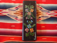 Mexican vintage woodcarving, a laquer-ware box from Uruapan, Michoacan, c. 1930. Beautifully decorated with hand-painted flowers and foliage.  Photo of bottom of box.