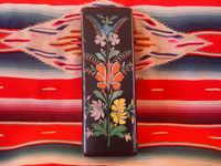 Mexican vintage woodcarving, a laquer-ware box from Uruapan, Michoacan, c. 1930. Beautifully decorated with hand-painted flowers and foliage.  Photo of top of box.