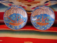 Vintage Mexican pottery and ceramics, and Mexican vintage folk art, a pair of lovely pottery plates from Tlaquepaque, c. 1920-30's. These are attributed to the famous artist, Balbino Lucano (or his equally famous brother, Tomas Lucano). Main photo.