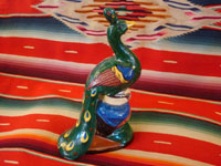 Mexican vintage pottery and ceramics, and Mexican vintage folk art, a peacock bank from Tlaquepaque, c. 1940. Beautifully hand-painted with wonderful colors. Photo of the other side of the peacock.