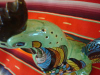 Mexican vintage pottery and ceramics, and Mexican vintage folk art, a pottery rooster from Tlaquepaque, c. 1940. Wonderfully glazed and very beautifully painted; this is an incredible piece of vintage Mexican fine/folk art!  A closeup photo showing head of rooster with small holes for toothpicks.