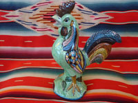 Mexican vintage pottery and ceramics, and Mexican vintage folk art, a pottery rooster from Tlaquepaque, c. 1940. Wonderfully glazed and very beautifully painted; this is an incredible piece of vintage Mexican fine/folk art!  Main photo.