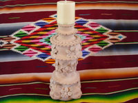 Mexican vintage pottery and cermics, and Mexican vintage folk-art, a pottery candleholder from Santa Maria Atzompa, Oaxaca, c. 1960. Main photo.