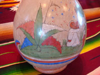 TT-3: Mexican vintage pottery and ceramics, a beautiful burnished jar from Tonala Jalisco, c. 1930's. Another closeup photo of the decrations on the side of the Tonala burnished pottery jar.