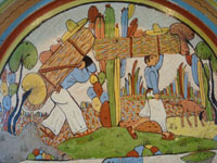 Mexican vintage pottery and ceramics, a beautiful petatillo (very fine cross-hatching in the background resembling a straw mat or petate) charger, with incredibly fine artwork, Tonala or Tlaquepaque, Jalisco, c.1930's. Closeup of the scene on the front of the petatillo charger.