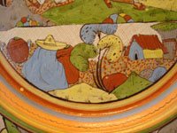 Mexican vintage pottery and ceramics, a beautiful petatillo (very fine cross-hatching in the background resembling a straw mat or petate) charger, with incredibly fine artwork, Tonala or Tlaquepaque, Jalisco, c.1930's. Another closeup of the scenes on the front of the petatillo charger.