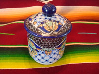 Mexican vintage pottery and ceramics, a beautiful lidded Talavera dish from Puebla, bearing the mark of the Uriarte fabrica, c. 1960's. Another side-view of the Talavera lidded bowl.