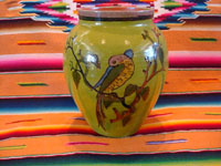 Mexican vintage pottery and ceramics, a beautiful pottery vase with fine artwork scenes on either side, and a wonderful green background, Tlaquepaque or Tonala, Jalisco, c. 1930's. Another photo of the exotic bird on one side of the vase.