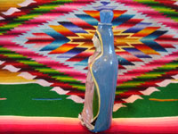 Mexican vintage pottery and ceramics, and Mexican vintage devotional art, a very fine pottery bottle depicting Our Lady of Guadalupe, Tlaquepaque or Tonala, Jalisco, c. 1930-40's. Side view of the bottle.