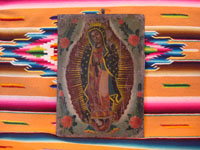 Mexican vintage tin-work art, and Mexican vintage devotional art, a lovely retablo painted on tin, depicting Our Lady of Guadalupe, Mexico, c. early 20th century.  Main photo of the retablo.