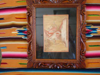 Mexican vintage straw-art (popote art or popotillo), and Mexican vintage folk art, a beautiful picture composed of thousands of minute pieces of dyed straw (popote, in Spanish), Mexico, c. 1940's. Main photo of the popote art picture.
