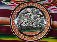 Mexican vintage pottery and ceramics, a large petatillo plate with very fine and detailed cross-hatching in the background and wonderful artwork, signed Jose Bernabe, Tonala or Tlaquepaque, Jalisco, c. 1940-50's. Main photo of plate.