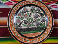 Mexican vintage pottery and ceramics, a large petatillo plate with very fine and detailed cross-hatching in the background and wonderful artwork, signed Jose Bernabe, Tonala or Tlaquepaque, Jalisco, c. 1940-50's. Another full view of the front of the plate.