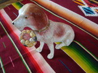 Mexican vintage folk art, and Mexican vintage pottery and ceramics, a wonderful piggy bank in the form of a delightful dog, by the famous Mexican folk artist Julian Acero, Tonala, Jalisco, c. 1930's. Another side view of the doggie.