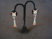 Native American Indian vintage sterling silver jewelry, a beautiful pair of Zuni dangling earrings with wonderful inlay-work, Zuni Pueblo, New Mexico, c. 1940's. Main photo of the Zuni inlay earrings.