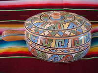Mexican vintage pottery and ceramics, a very beautiful lidded pottery casserole with very fine and intricate artwork, Tonala or Tlaquepaque, Jalisco, c. 1950's.  Main photo of the casserole.
