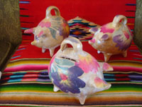 Mexican vintage folk art, and Mexican vintage pottery and ceramics, a wonderful trio of pottery piggy banks, Tonala, Jalisco, c. 1940-50's.  Main photo of the piggy banks.