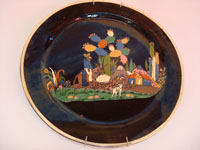 Mexican vintage pottery and ceramics, large Tlaquepaque blackware  charger, c. 1930.