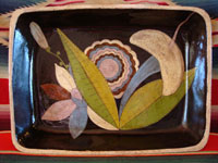 Mexican vintage pottery and ceramics, square blackware casserole from Tlaquepaque, c. 1935.