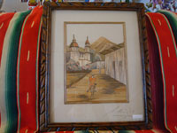 Mexican vintage straw-art, popote art or popotillo, picture of a man riding his burro through a village, c. 1950.