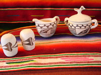 Native American vintage pottery, Acoma condiment set with creamer and sugar, and salt and pepper shakers, c. 1950.