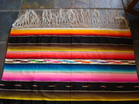 Closeup of edge and fringes of Saltillo sarape in Mexican flag colors