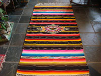 Mexican vintage textile, Saltillo sarape with colors of Mexican flag, c. 1940.