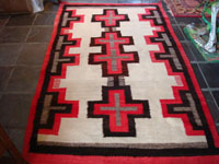Native American textile, Navajo Ganado rug with crosses, c. 1930.