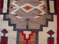 Closeup of Navajo weaving, Red Mesa with storm pattern