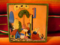 Mexican vintage pottery, Tlaquepaque tile with Mexican rancher, 1920.