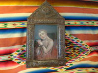 Mexican antique devotional art, tin retable showing soul in purgatory in an antique tinware niche, c. mid-19th century.