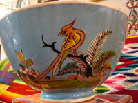 Mexican vintage pottery/ceramics, Tlaquepaque bowl with bird and floral designs, 1930.