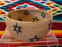 Native American antique Indian basket, washo basket with stars around sides, c. 1910.
