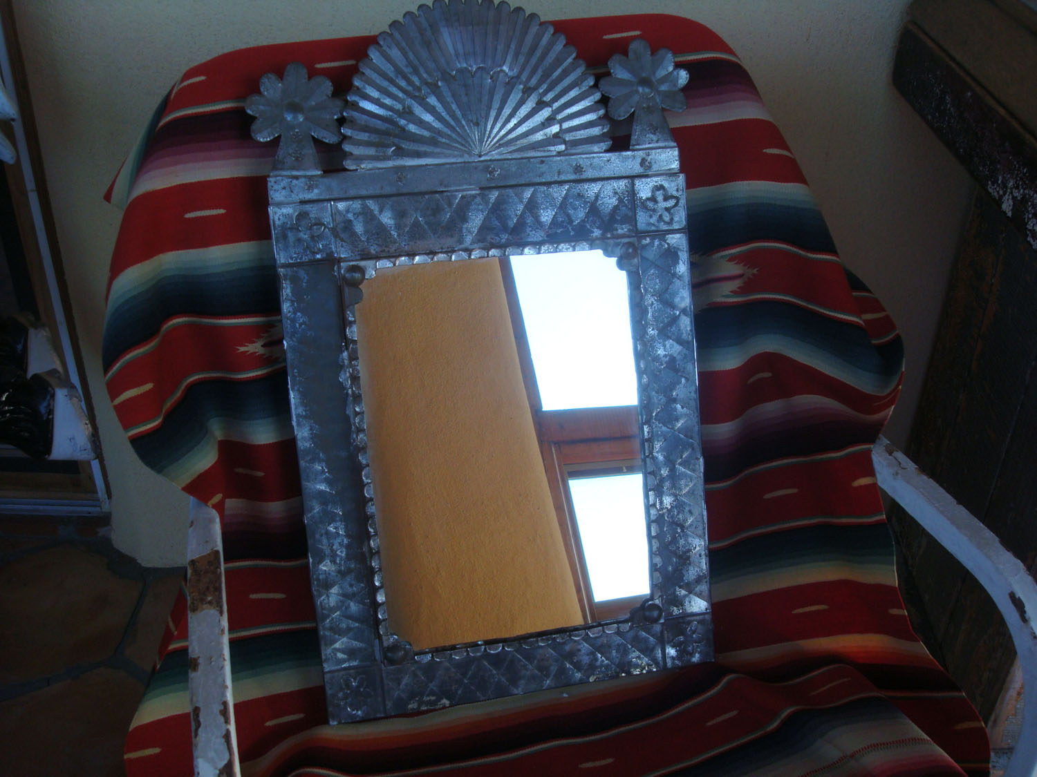Mexican Vintage Tinwork Art Tin A Beautiful Mirror With