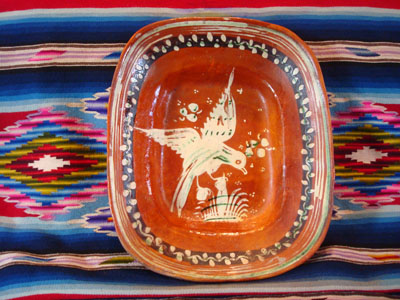 Mexican vintage pottery and ceramics, a lovely bandera-ware rectangular dish with a graceful eagle, Tonala or Tlaquepaque, Jalisco, c. 1930's.