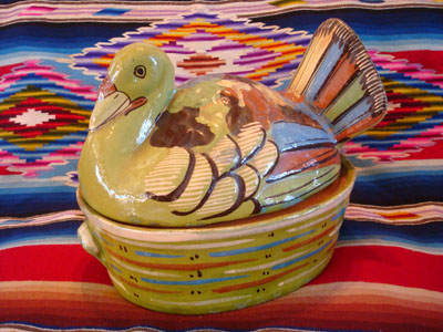 Mexican vintage pottery and ceramics and Mexican vintage folk-art, a lidded casserole in the form of a lovely green nesting turkey, Tlaquepaque, c. 1940's.