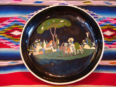 Mexican vintage pottery and ceramics, a black-ware bowl with a tri-pod base, Tlaquepaque, Jalisco, c. 1930's.