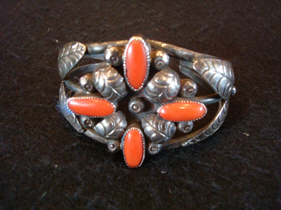 Mexican and Taxco vintage sterling silver jewelry, a wonderful silver bracelet with lovely corral stones, Taxco c. 1940's.