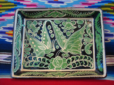 Mexican vintage pottery and ceramics, a fantasia rectangular baking dish with wonderful butterflies, Tonala or Tlaquepaque, Jalisco, c. 1930's.