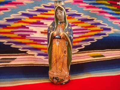 Mexican vintage pottery and ceramics, a beautiful pottery holy-water bottle in the image of Our Lady of Guadalupe, Tlaquepaque c. 1940.
