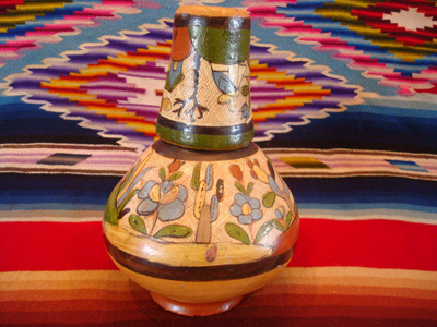Mexican vintage pottery and ceramics, a wonderful petatillo water-jar and cup with beautiful artwork, Tonala or Talquepaque, Jalisco c. 1930's. The piece is attributed to the great Balbino Lucano, although it is not signed.