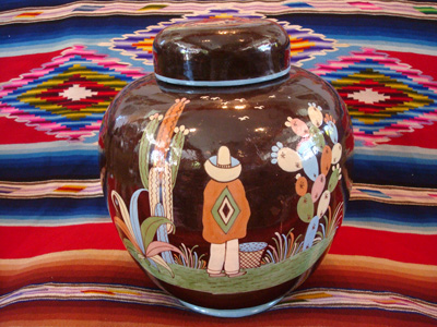 Mexican vintage pottery and ceramics, a large lidded black-ware tibor, Tlaquepaque, Jalisco, c. 1920's.