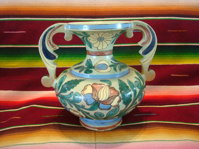 Mexican vintage pottery and ceramics, a beautiful Tlaquepaque pottery vase with a very graceful design and wonderful artwork, Tonala or San Pedro Tlaquepaque, Jalisco, c. 1930's.