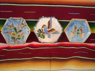 Mexican vintage pottery and ceramics, three lovely Tlaquepaque plates with lovely floral artwork and with wonderful birds, Tonala or San Pedro Tlaquepaque, c. 1930's.