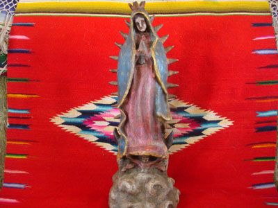 Mexican vintage devotional art, and Mexican vintage pottery and ceramics, a beautiful pottery figure of Our Lady of Guadalupe, Patroness of the Americas, Oaxaca, c. 1940.